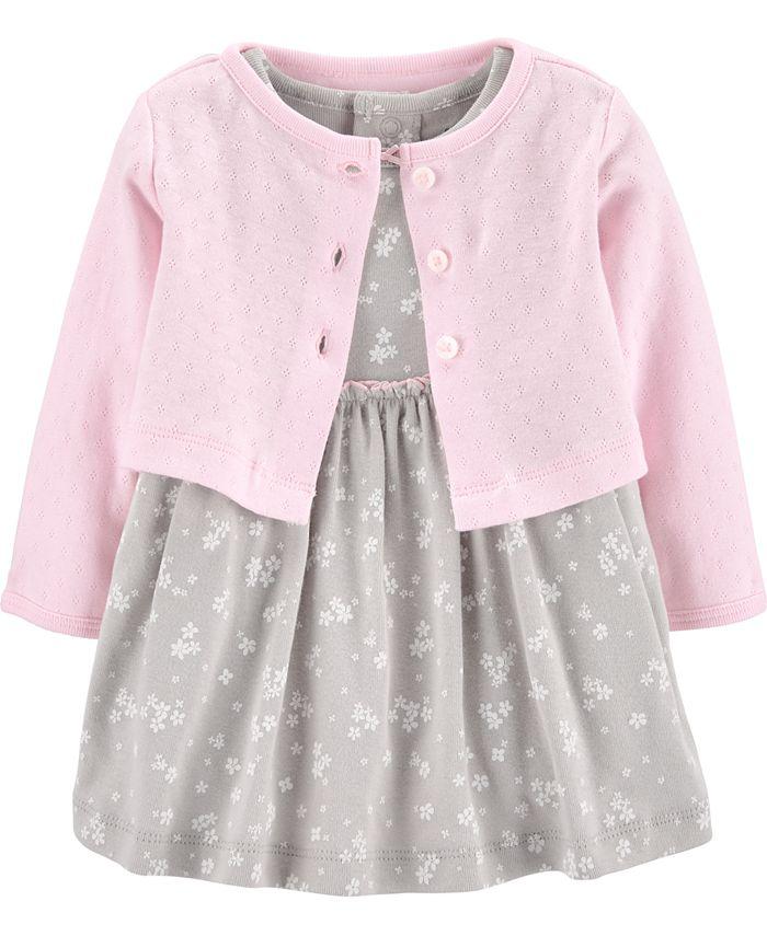 Carter's - Baby Girls 2-Pc. Cotton Cardigan & Dress Set