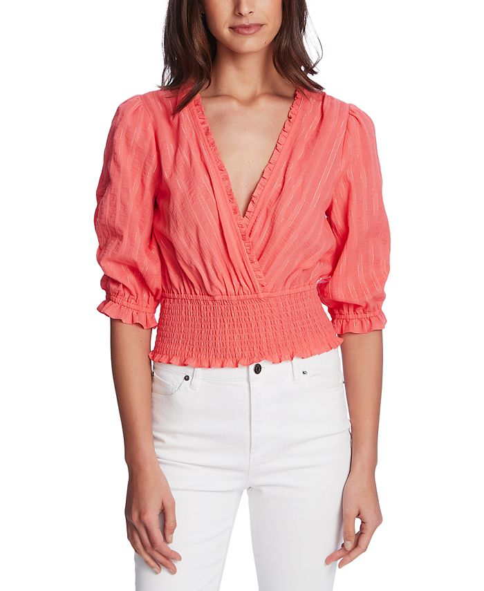 1.STATE - Shimmer Stripe Cross Front Top