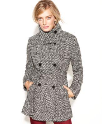 Calvin Klein Double-Breasted Belted Tweed Coat - Coats - Women ...