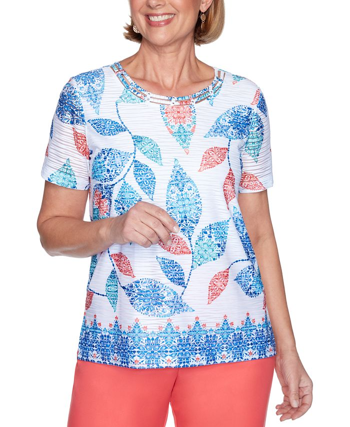 Alfred Dunner - Petite Look On The Bright Side Printed Top