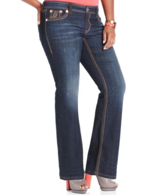 Seven7 Jeans Plus Size Destructed Bootcut Jeans, Archer Wash ...