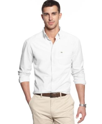 Lacoste Core Shirt, Solid Button Down Collar Shirt - Casual Button ...