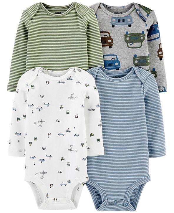 Carter's Baby Boys 4-Pk. Printed Long-Sleeve Cotton Bodysuits