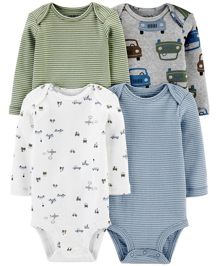 Carter's - Baby Boys 4-Pk. Printed Long-Sleeve Cotton Bodysuits
