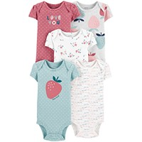 5-Pack Carter's Baby Girls Strawberry Printed Cotton Bodysuits