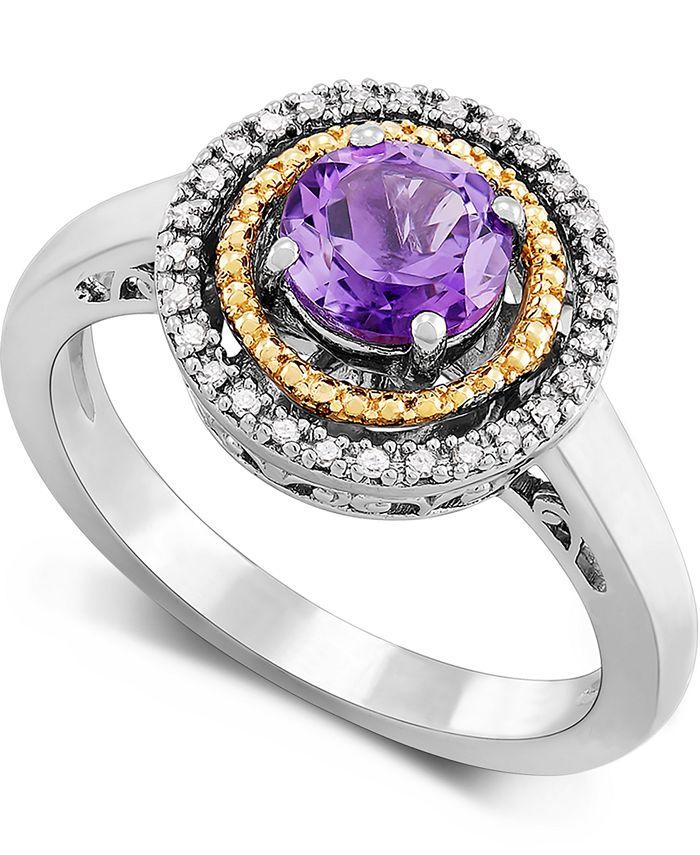 Macy's - Amethyst (3/4 ct. t.w.) & Diamond (1/10 ct. t.w.) Halo Ring in Sterling Silver & 14k Gold