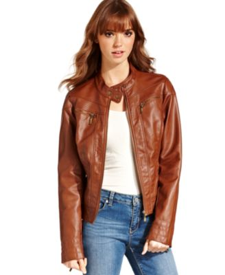 American Rag Juniors Faux-Leather Jacket - Jackets & Vests ...