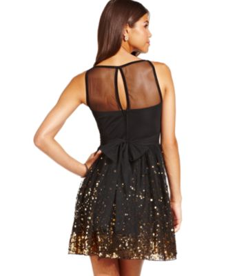 Crystal Doll Juniors Dress, Sleeveless Mesh Paillettes - Dresses ...