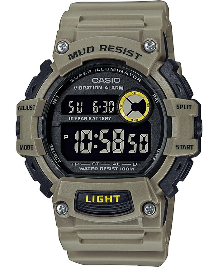 Casio - Men's Digital Khaki Resin Strap Watch 48.4mm