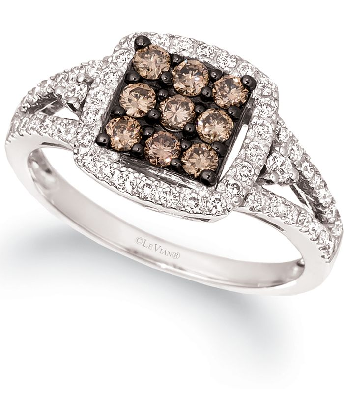 Le Vian - Chocolate Diamond & Nude Diamond Square Cluster Statement Ring (3/4 ct. t.w.) in 14k White Gold