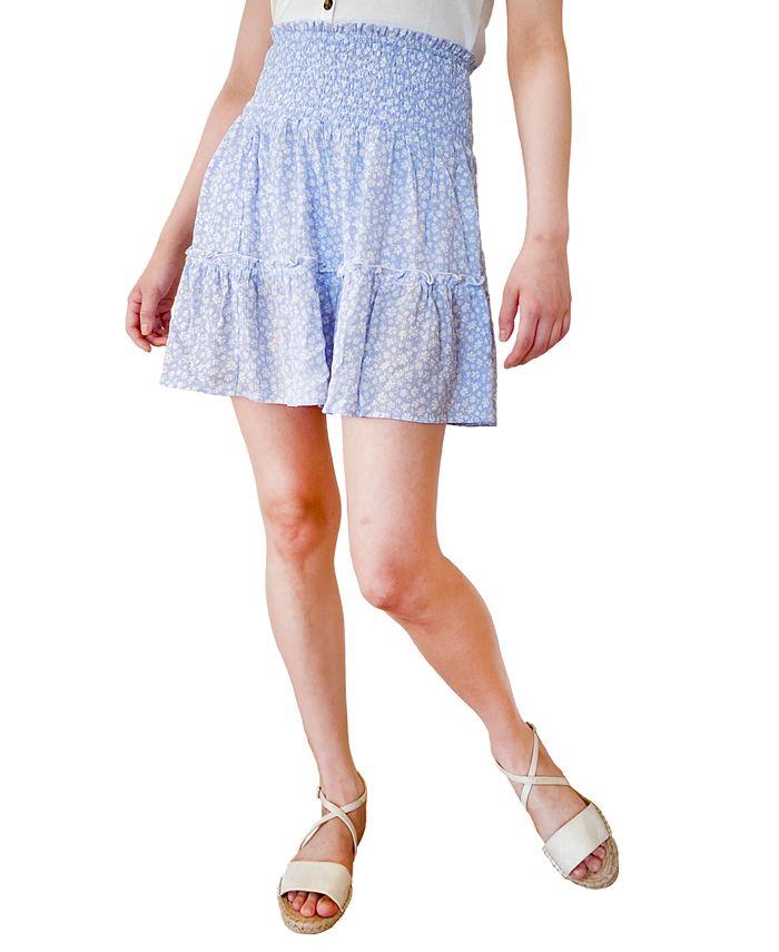 Hippie Rose - Juniors' Printed Ruffled Smocked-Waist Mini Skirt