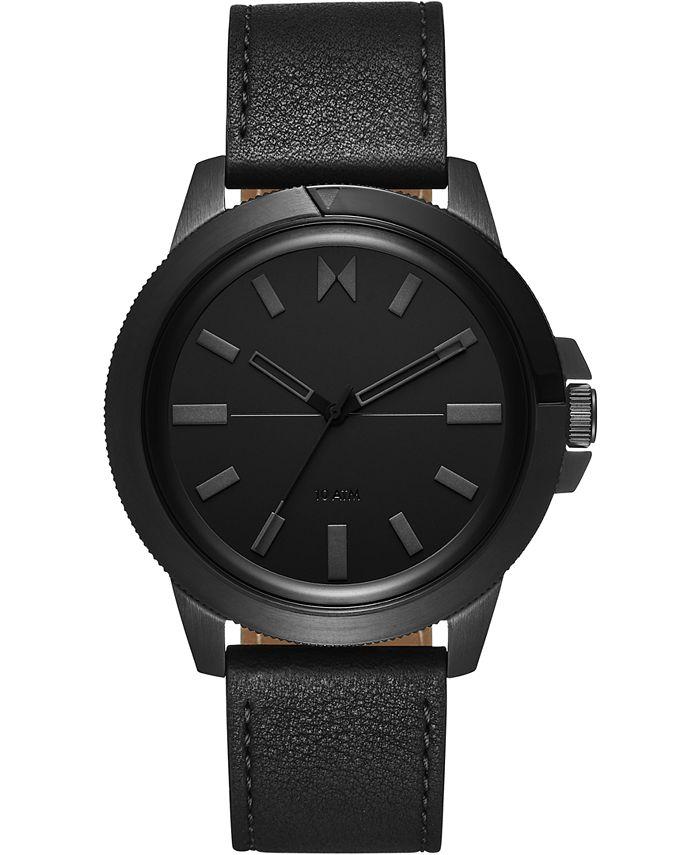 MVMT - Men's Minimal Sport Black Leather Strap Watch 45mm