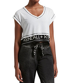 Kendall + Kylie Women's Double Layer Crop V-Neck Tee
