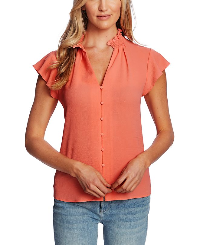 CeCe Smocked Neck Ruffle Sleeve Top