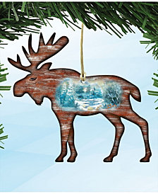 Designocracy Woodsy Moose Scenic Wooden Christmas Ornament Set of 2