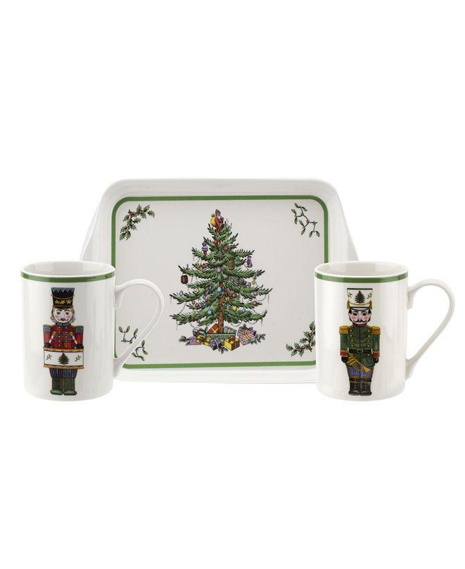 Spode CLOSEOUT! Christmas Tree Nutcracker 3 Piece Mug and Melamine Tray Set