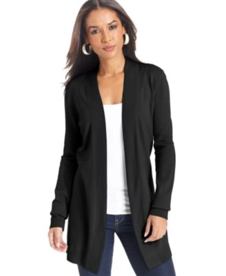 JM Collection Long-Sleeve Open-Front Cardigan - Sweaters - Women ...