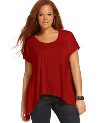 Soprano plus size top short sleeve handkerchief hem for Handkerchief shirt plus size