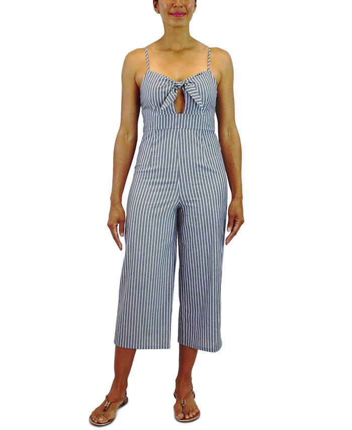 Crystal Doll - Juniors' Cotton Tie-Front Striped Jumpsuit