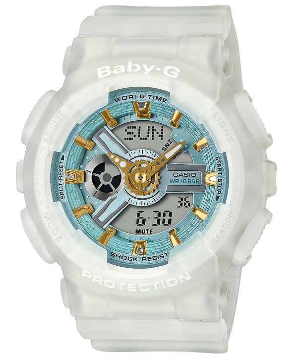 G-Shock Women's Analog-Digital Frosted White Resin Strap Watch 43.4mm