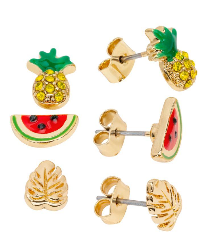 RACHEL Rachel Roy Gold-Tone 3-Pc. Set Pavé Pineapple Stud Earrings  & Reviews - Earrings - Jewelry & Watches - Macy's