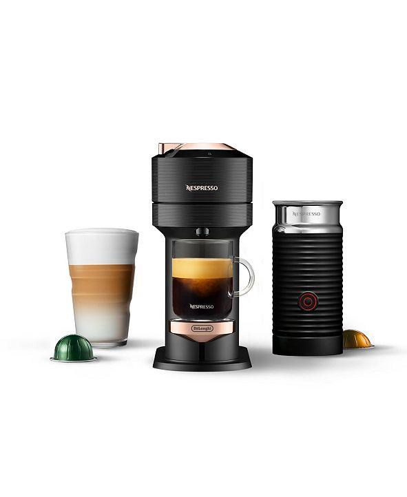 Nespresso Vertuo Next Premium Coffee and Espresso Maker by DeLonghi, Black Rose Gold with Aeroccino Milk Frother