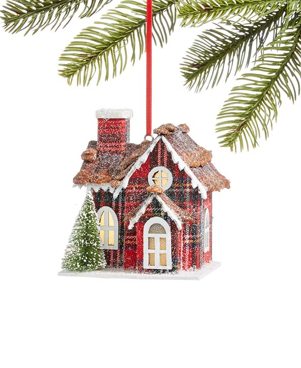 Holiday Lane Christmas Cheer Paper House with LED ligh Ornament, Created for Macy's