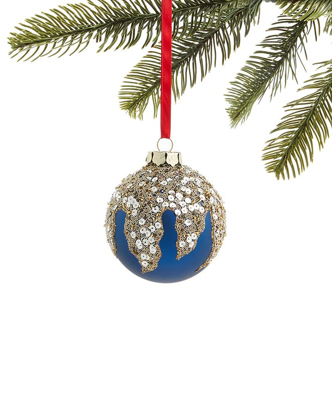Holiday Lane Midnite Blue Glass Ball with Sequins and Beads Ornament, Created for Macy's