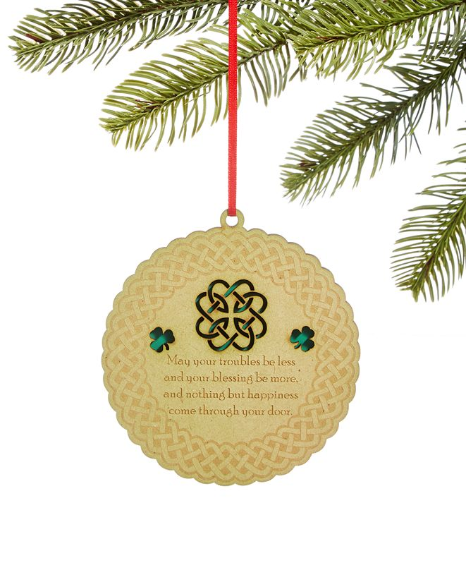 Holiday Lane Irish Round Laser Cut Ornament, Created for Macy's