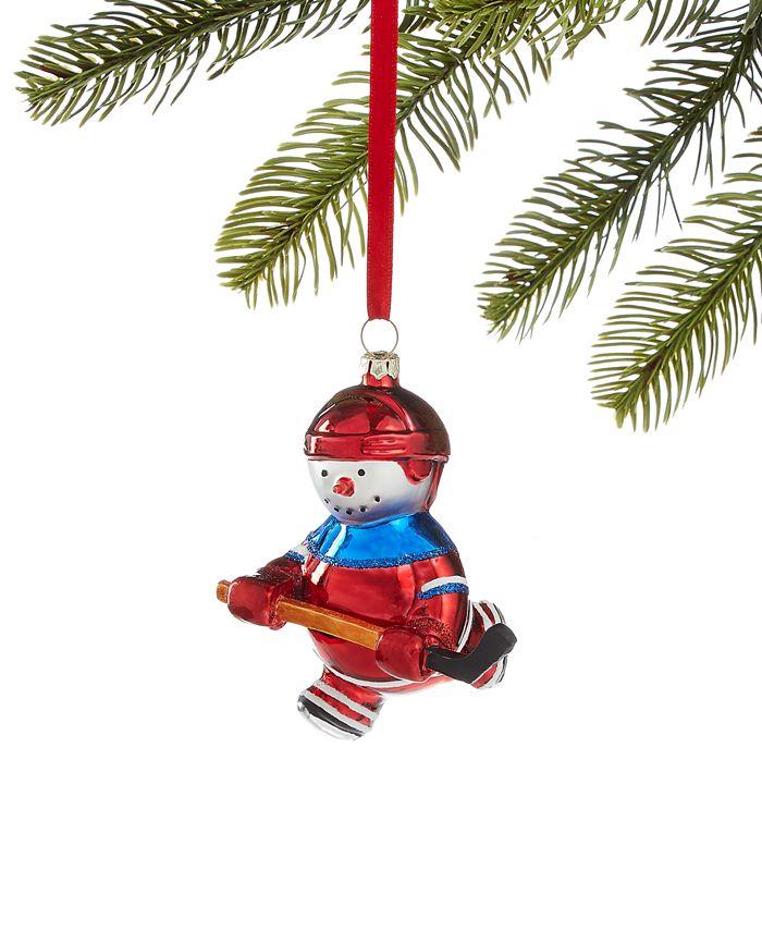 Holiday Lane - Sports Hockey Player Snowman Ornament