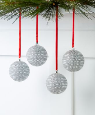 Shine Bright Set of 4 Silver Beaded Ball Ornaments, Created for Macy's