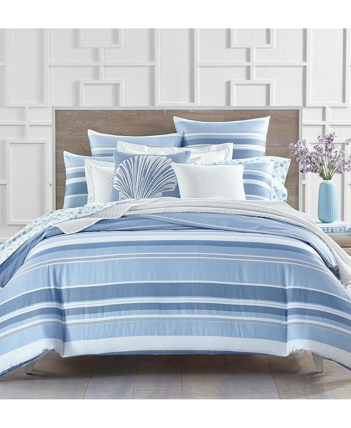 Charter Club - Damask Designs Coastal Stripe 300-Thread Count Bedding Collection, Created for Macy's