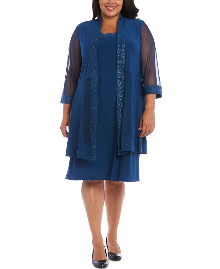 R & M Richards - Plus Size Embellished Dress & Jacket