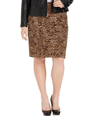 jones new york collection plus size skirt leopard print