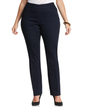 Lee Platinum Plus Size Erika Pull-On Straight-Leg Pants