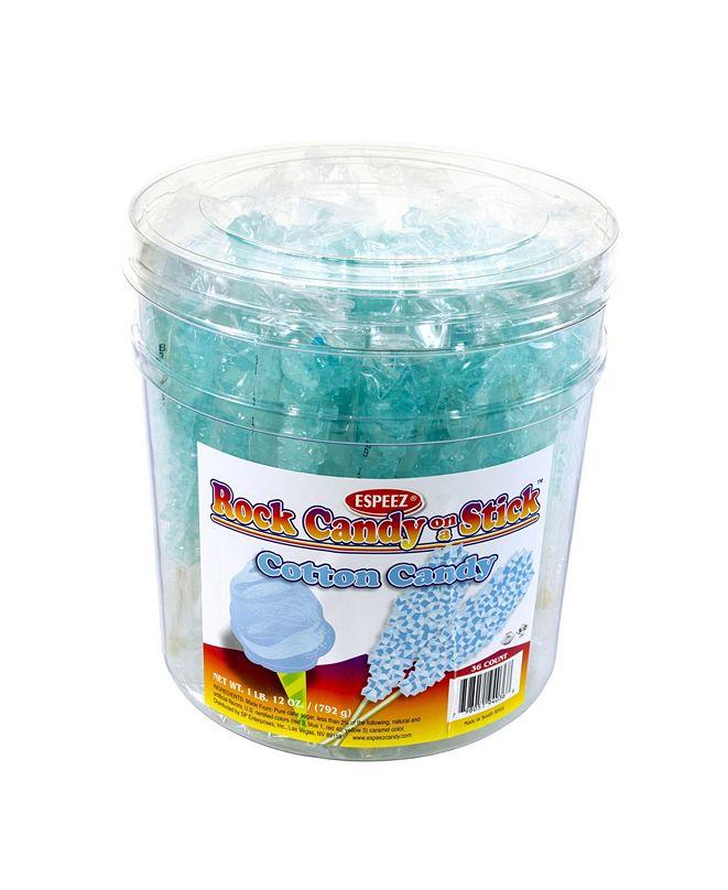 ESPEEZ Light Blue Cotton Candy-Flavored Rock Candy Sticks, 36 Count