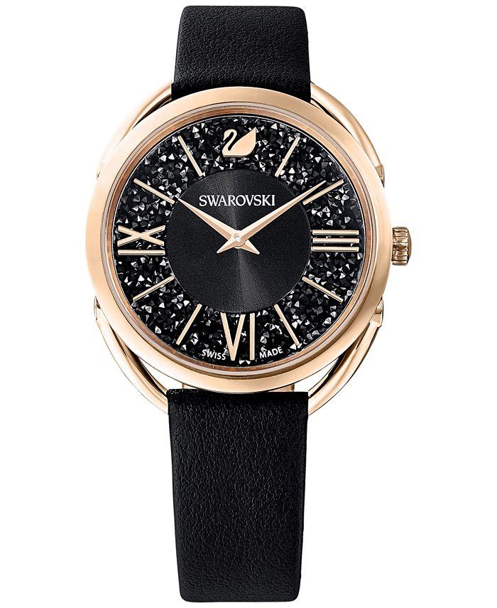 Swarovski - Women's Swiss Crystalline Glam Black Leather Strap Watch 35mm