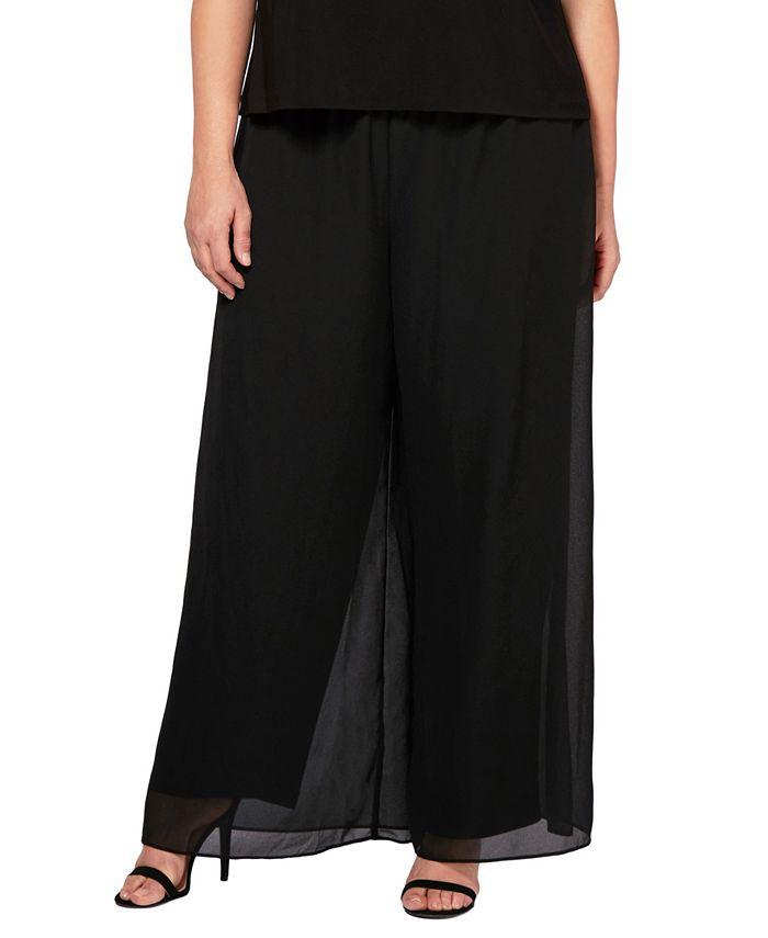 Alex Evenings - Plus Size Straight-Leg Overlay Pants