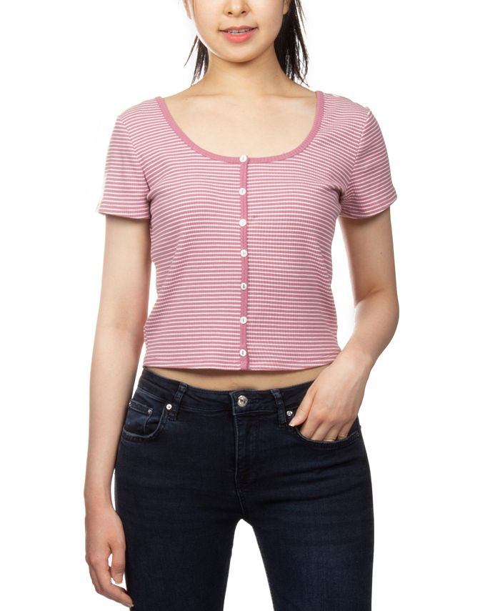 Hippie Rose - Juniors' Striped Crop Top
