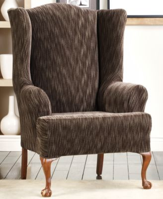 Sure Fit Stretch Space Dye Wing Chair Slipcover