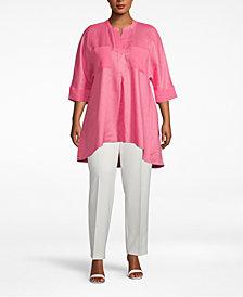 Anne Klein Plus Size Linen High-Low Top