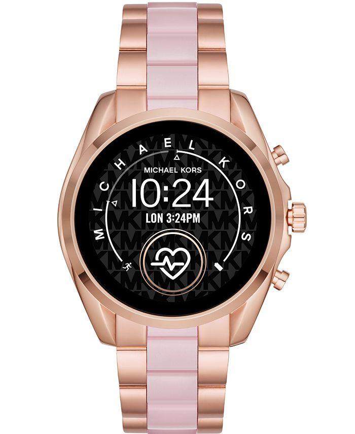 Michael Kors - Women's Bradshaw 2 Rose Gold-Tone Stainless Steel & Blush Acetate Bracelet Touchscreen Smart Watch 44mm