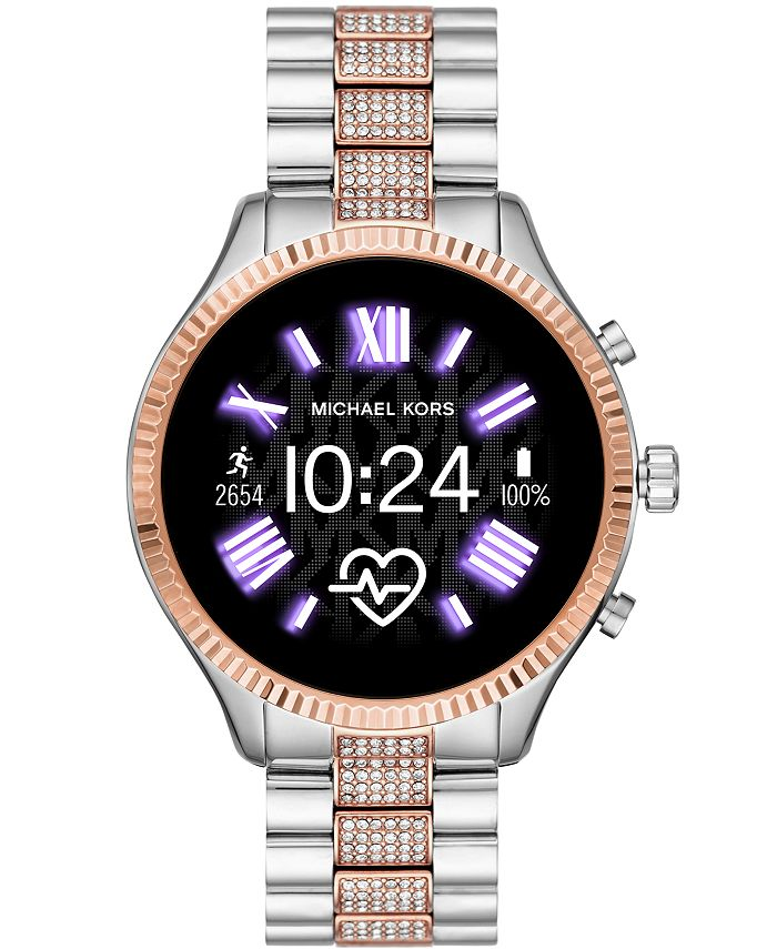 Michael Kors - Women's Lexington 2 Glitz Two-Tone Stainless Steel Bracelet Touchscreen Smart Watch 44mm