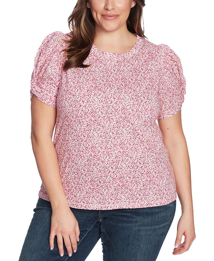 1.STATE - Plus Size Floral-Print Twist-Sleeve Top