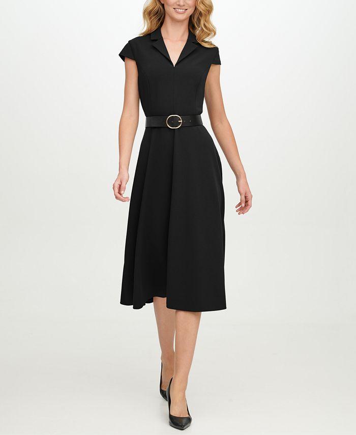 Calvin Klein - Belted Scuba-Crepe Fit & Flare Midi Dress