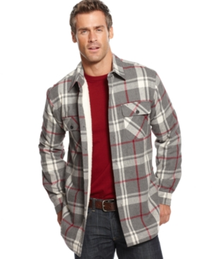 club room jacket flannel faux shearling lined shirt