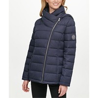 DKNY Asymmetrical Hooded Packable Puffer Coat