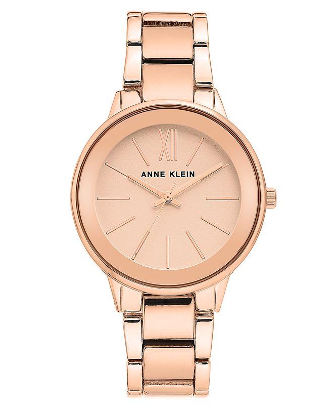 Anne Klein Women's Rose Gold-Tone Bracelet Watch 37mm