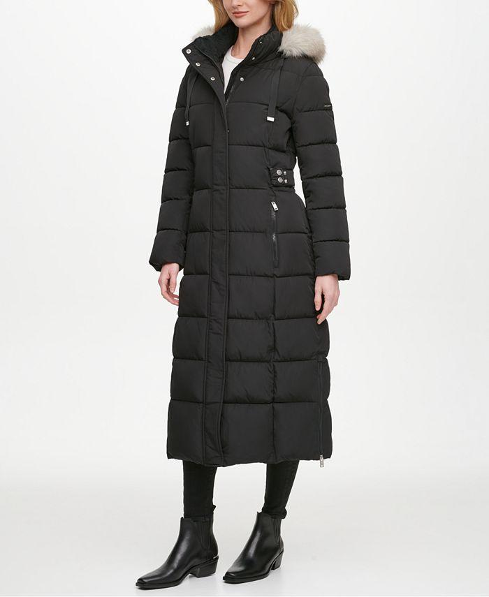 DKNY - Faux-Fur Trim Hooded Maxi Puffer Coat