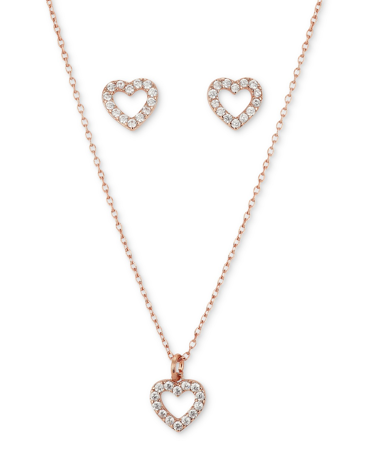 2-Pc. Set Cubic Zirconia Open Heart Pendant Necklace & Matching Stud Earrings in Rose Gold-Flash